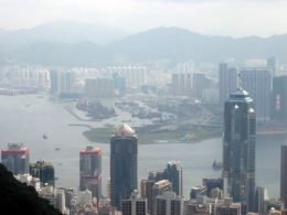 Hong Kong, a large and busy city